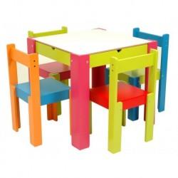 Conjunto mesa cajon + 4 sillas
