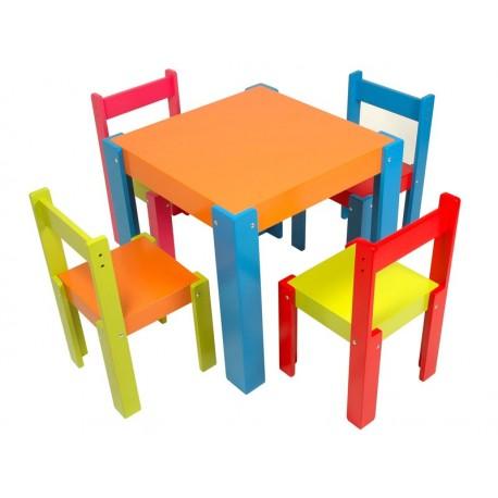 Conjunto mesa laqueada + 4 sillas