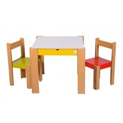 Conjunto mesa cajon + 2 sillas