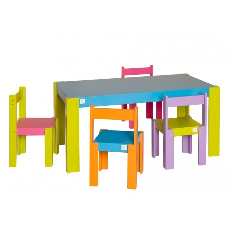 Conjunto mesa rectangular laqueada + 4 sillas