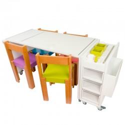 Conjunto Mesa Arte grande + Gavetero de Arte + 4 sillas