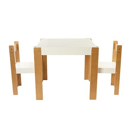 Conjunto mesa laqueada + 2 sillas
