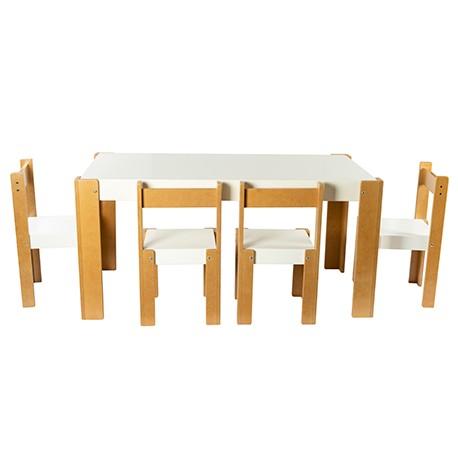 Conjunto mesa rectangular con pizarra + 4 sillas