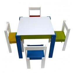 Conjunto mesa con pizarra + 4 sillas